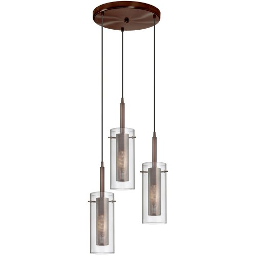 Dainolite 33963R-CM-OBB 3-Light Pendant-Round Canopy, Clear Glass with Mesh Insert, Oil Brushed Bronze