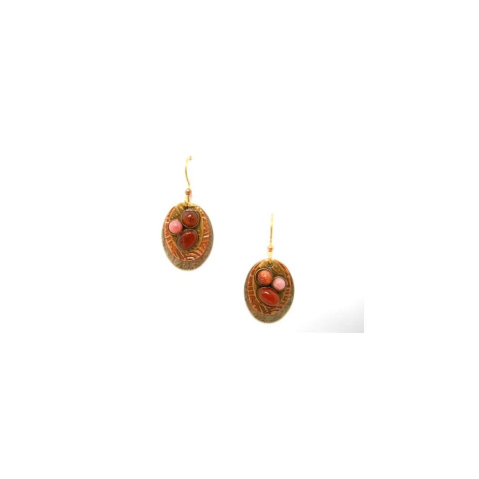 Silver Forest of Vermont Carnelian Goldstone Teardrop Dangle Earrings