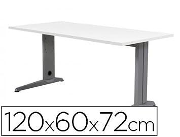 Tavolo da ufficio Rocada metallo alluminio/bianco, 60 x 120 cm