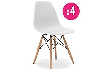Set de 4 Sillas inspirado del modelo Eiffel de Charles Eames - DSW Blancas