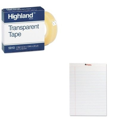 KITMMM5910121296UNV20630 - Value Kit - Highland Transparent Tape (MMM5910121296) and Universal Perforated Edge Writing Pad (UNV20630) kitmmmc214pnkunv10200 value kit scotch expressions magic tape mmmc214pnk and universal small binder clips unv10200