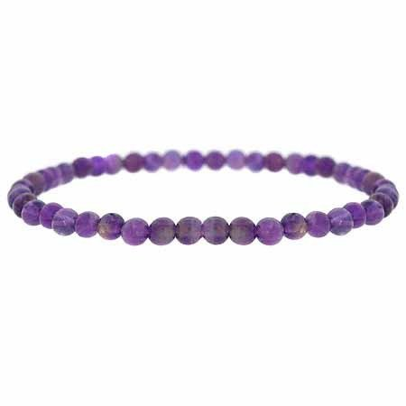 Genuine Amethyst Stone 4mm Bead Beaded Stretch Bracelet