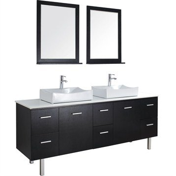 Millia 75 Inch Modern Double Bathroom Vanity Set - Espresso