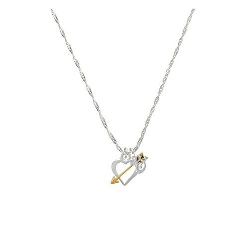 Open Heart With Gold Tone Arrow Mini Gelato Initial - & - Grace Necklace