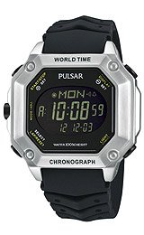 Pulsar by Seiko World Time Alarm Chronograph Digital Men's watch #PW3001