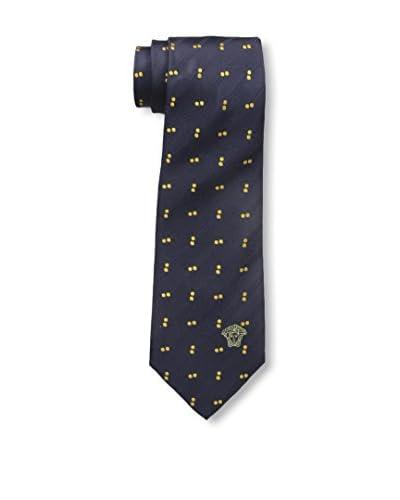 Versace Men's Patterned Silk Tie, Navy/Yellow