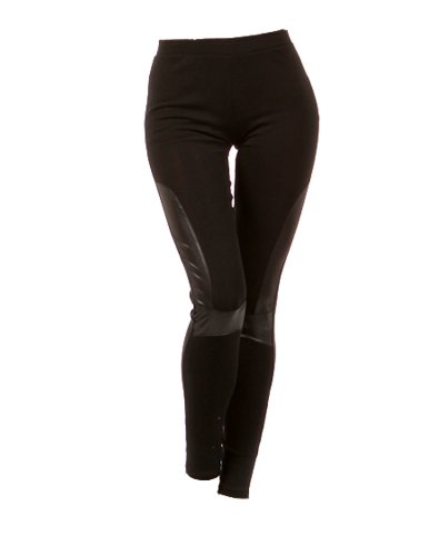 Sexy Style Women Leggings Solid Leggings with Faux Leather Solid Leggings with Faux Leather Detail