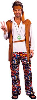 Hippie Man Fancy Dress Costume  This low-cost costume includes everything you need to spread a bit of love and peace. Includes a headband, shirt with attached vest, patterned trousers and a belt.