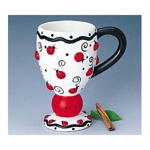 Taza para café en forma de Ladybug (mariquita) - Adorable Ladybug Cappuccino Coffee Mug With Ladybugs And Swirls Precio: $7.47