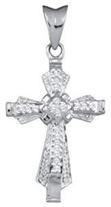 Pricegems 14K White Gold Ladies Round Brilliant Diamond Cross Pendant (1/5 cttw, I-J Color, I1/I2 Clarity)