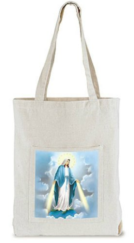 Catholic 14 Inch Canvas Tote Purse Book Bible Carrying Bag with OL Our Lady of Grace Front Pocket