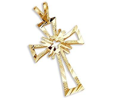 Solid 14k Yellow Gold Cross Crucifix Charm Pendant New