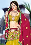 Crome Yellow and Deep Pink Faux Georgette Circular Lehenga Choli with Dupatta