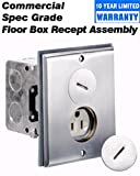 Leviton 25249-SBA 15Amp, 125 Volt, Floor Box Assembly, Includes Brass with Brushed Nickel Finish Floor Plate, Gasket, Screw Cap, O-ring, and Switch Box