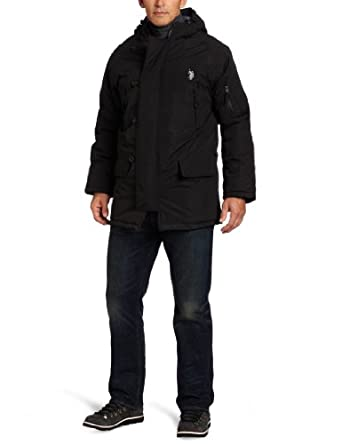 U.S. Polo Assn. Men's Long Snorkel Jacket, Black, Large