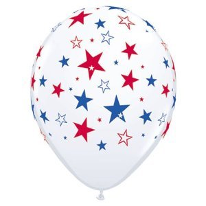 Stars and Stripes Balloons (Red White & Blue) - Set of 12 by Qualatex