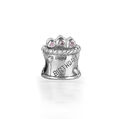 Bling Jewelry Happy Birthday Cake Light Pink CZ 925 Sterling Silver Bead