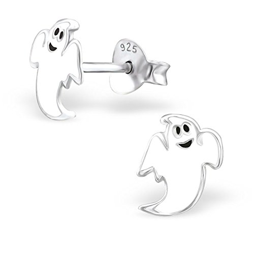 Girls White Ghost Stud Sterling Silver Earrings