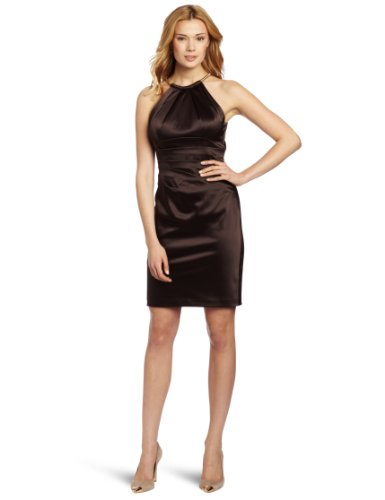 Eliza J Women's Sleevless Pleated Neck With Lace Detail And Pleats At Waist, Brown, 8