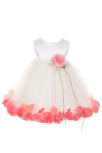 Satin Bodice Flower Baby Girl Pageant Petal Dress: Ivory/Coral Infant Xl