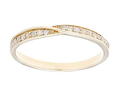 10k Yellow Gold 1/4ct Bypass Pave Diamond Wedding Anniversay Band (G-H, I1-I2)