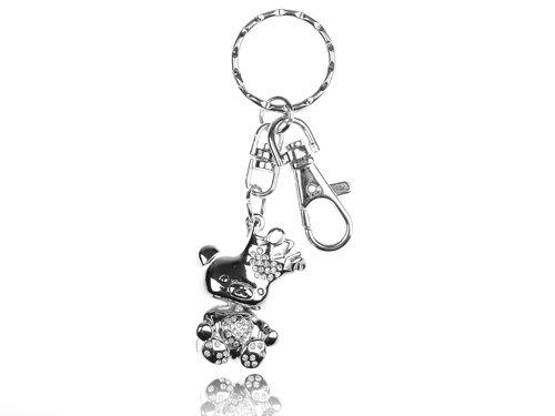 Silver Tone Love Crown Teddy Cuddly Bear Swarovski Crystal Rhinestone Keychain