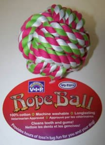 Vo-Toys Cotton Rope Chew Ball 4.5in Dog Toy Assorted Colors