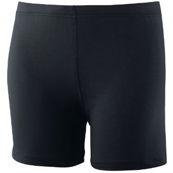 "Girls Poly/Spandex 4"" Short - Black - Small front-873563"