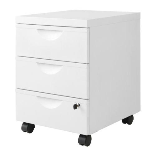 IKEA ERIK - Cajonera w 3 cajones con ruedas, blanco - 41x57 cm