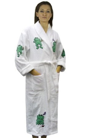 Women's Frog Appliqued Cotton Terry Short Bathrobe