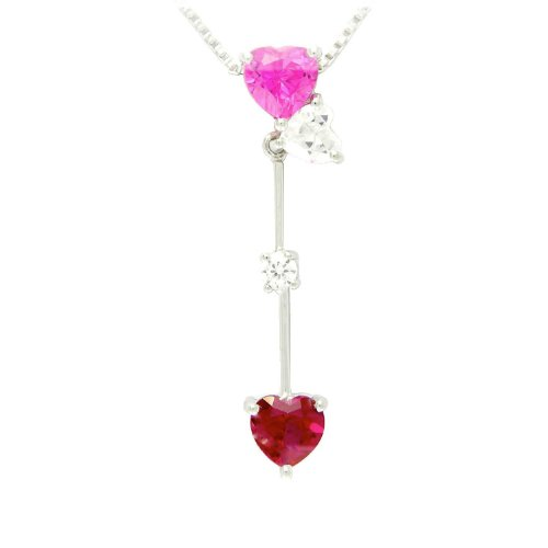 Sterling Silver Heart and Round Shaped Created Ruby, Created Pink Sapphire and White Cubic Zirconia Heart Pendant Necklace , 18