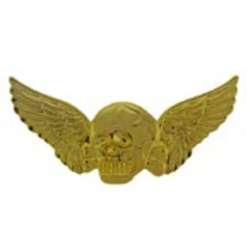 Winged Skull Pin Gold Plated 2 1/16