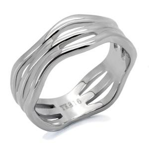 RIGHT HAND RING - High Polished Stainless Steel Three-Row Wave Ring