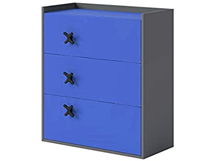 Kommode mit 3 Schubladen Anthrazit/Royal Blau sideboard highboard kommode gunstig schlafzimmer kommode