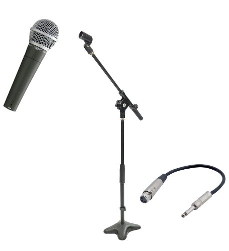 Pyle Mic And Stand Package - Pdmic58 Professional Moving Coil Dynamic Handheld Microphone - Pmks7 Compact Base Microphone Stand - Ppfmxlr01 12 Gauge 6 Inch 1/4'' To Xlr Female Cable