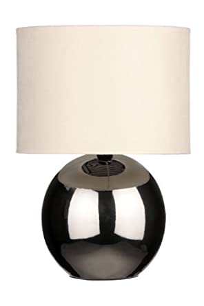Premier Housewares Chrome Ceramic Table Lamp with Fabric Shade - Beige