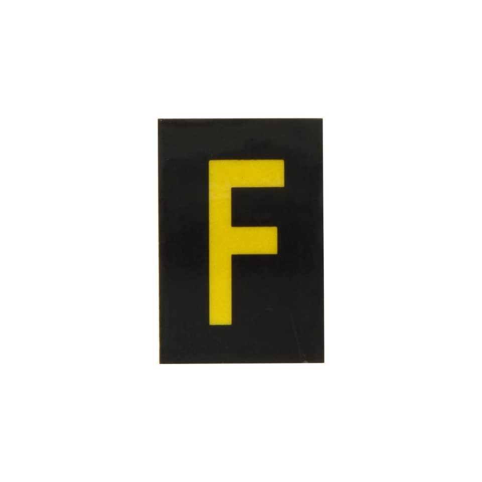 Brady 5905 F Bradylite 1 1/2 Height, 1 Width, B 997 Engineering Grade Bradylite Reflective Sheeting, Yellow On Black Reflective Letter, Legend F (Pack Of 25)