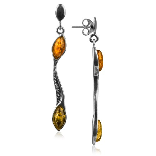 Sterling Silver Multi-Color Amber Long Earrings