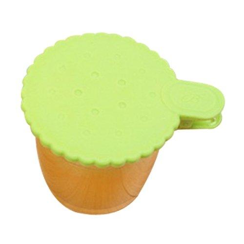BestCool Wasserleck Silikonkautschuk Becher Deckel Schöne Kreative Ungiftiges Silikon Universaldeckel Deckel Blume Spitze - Grün