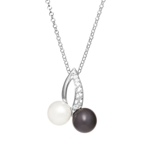 Sterling Silver Peacock and White Frshwater Cultured Pearl with Cubic Zirconia Pendant Necklace, 18