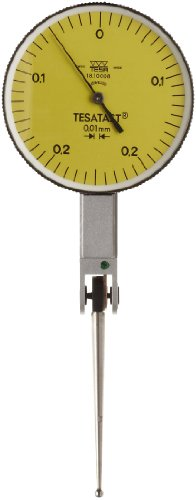 Brown & Sharpe Tesa 18.10008 Tesatast Dial Test Indicator, Top Mounted, Extra Long Contact Point, M1.4X0.3 Thread, 2Mm Stem Dia., Yellow Dial, 0-0.25-0 Reading, 38Mm Dial Dia., 0-0.5Mm Range, 0.01Mm Graduation, +/-0.01Mm Accuracy front-592100