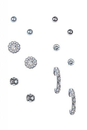 Lux accessori, con finte perle, orecchini a lobo a forma di cerchio &