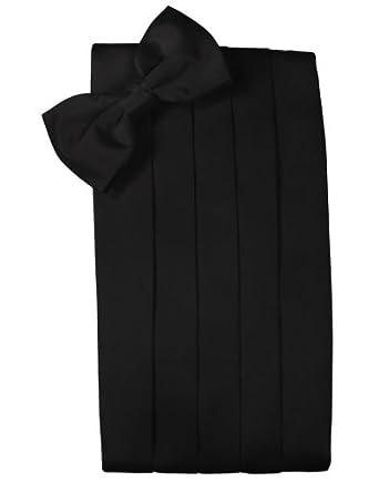 Cardi Mens Strata Black Silk Bowtie and Cummerbund