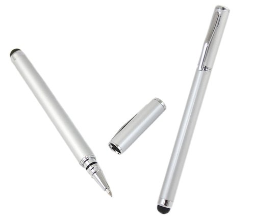 iTALKonline SILBER Premium-Touch-Tip-Stift mit Rubber Tip und SCHWARZ ROLLER BALL PEN f&#252;r LG KM900 Arena
