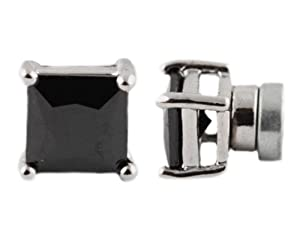 JOTW Silver with Black Four Prong Square 5mm Cubic Zirconia Magnetic Stud Earrings at Sears.com