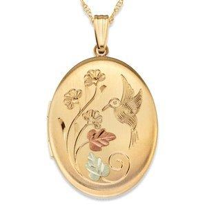Black Hills Gold Oval Hummingbird Locket: Locket Necklaces: Jewelry