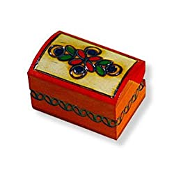 Wooden Box, 5436, Handcrafted Keepsake Chest, tiny, Red with Flower, 2.25&quot;x1.5&quot;.