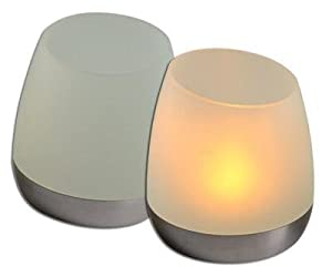 P3 International Solar Powered Flip N Charge Candle-Set Of 2 Frosted-Shade Design