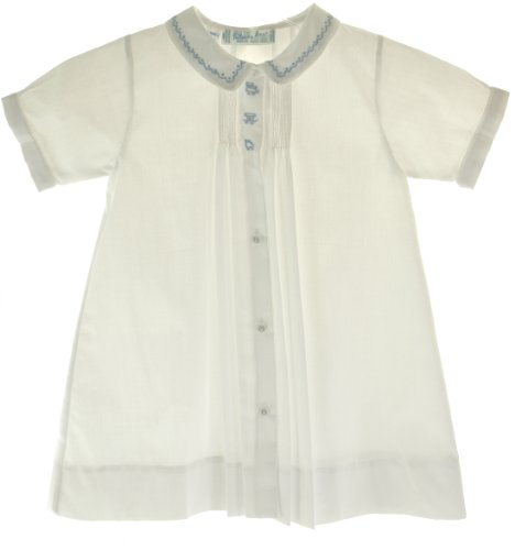 Feltman Brothers Infant Baby Boys White Daygown With Blue Embroidered Train - Newborn front-487205