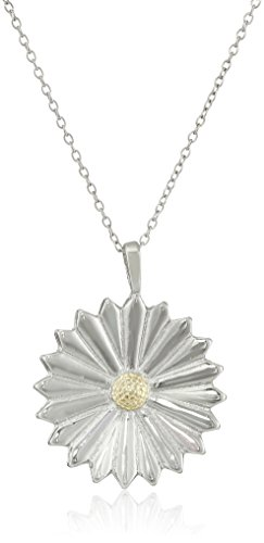 """Sterling Silver """"Two-Tone"""" Daisy Pendant Necklace, 18"""""""